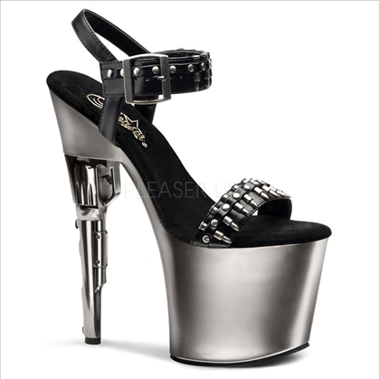 This dangerous shoe has a 7 1/2 inch silver gun heel featuring a row of plastic bullets across the toe strap and a wide buckle strap on the sandal.