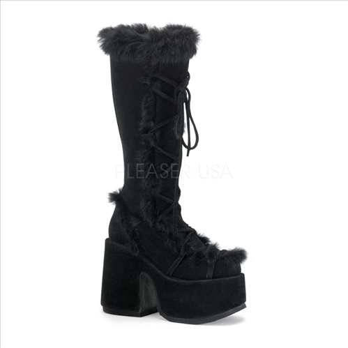 Black Demonia Suede Stack Boots