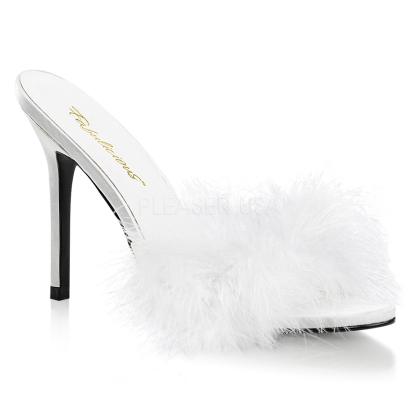 white fur marabou shoes