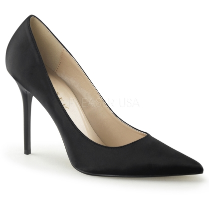 black satin business shoes