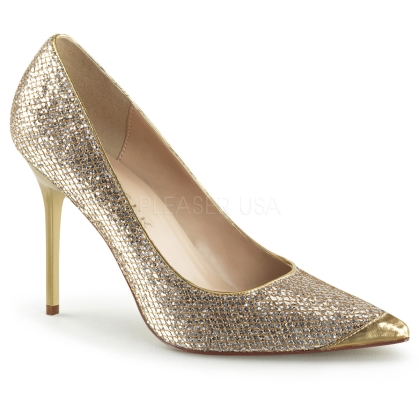 gold glitter business shoes
