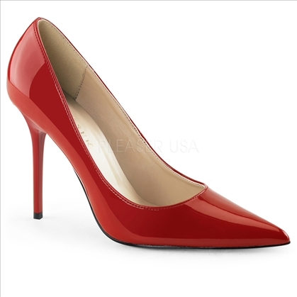 women's red paten high heel
