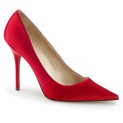 women's red satin high heel pump