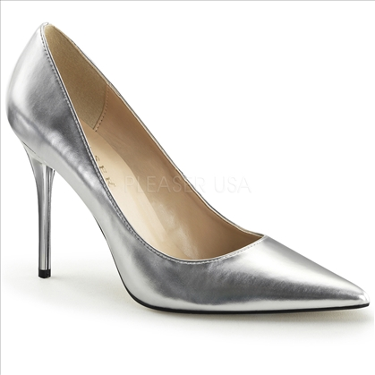 women's silver metallic pump