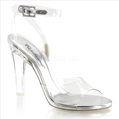 clear wrap around strap posing shoes