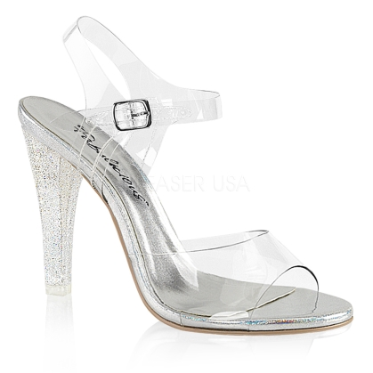 glitter clear ankle strap sandal