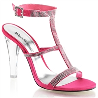 high heel coral satin tri-band sandal