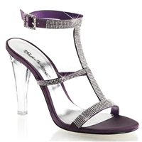 eggplant satin high heel tri-band sandal