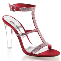 rouge satin high heel sandal