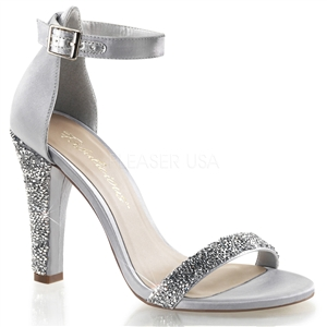silver satin closed back sandal