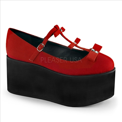 red platform bows t-strap shoes