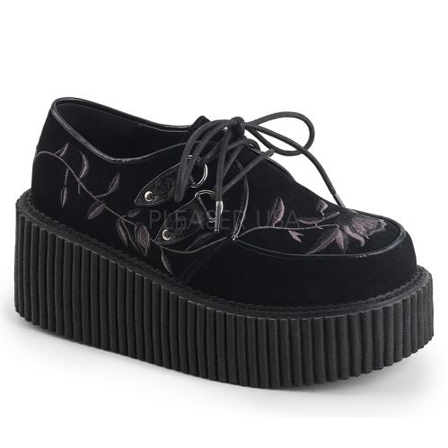 Black Velvet Lace Up Oxford Creeper