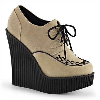 wedge platform cream suede shoes