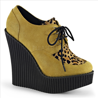 mustard suede leopard print shoes
