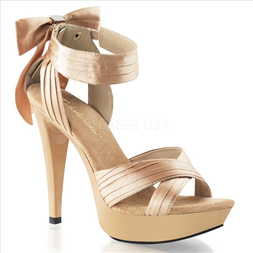 pleated strap champagne color shoes