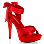 pleated strap red shoes
