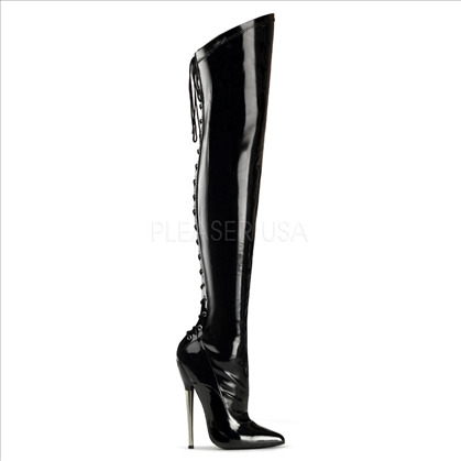 ultra high heel slant top black boots