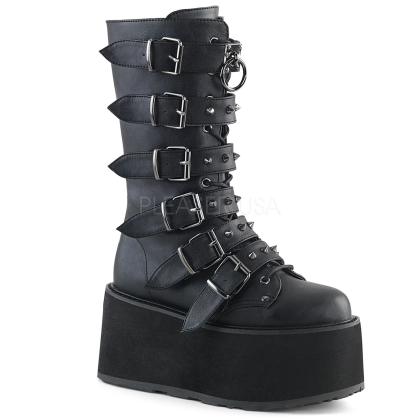 Black Vegan Leather Lace-Up Mid-Calf Boot