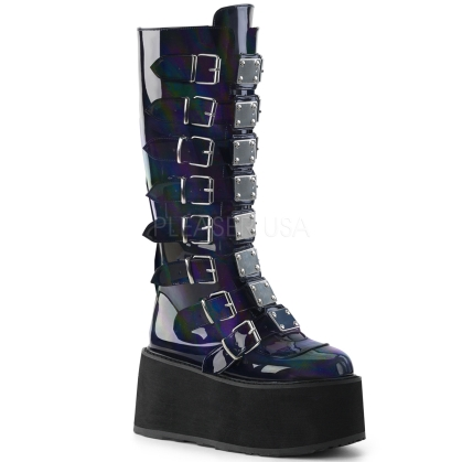 Shiny Black Knee High Boot With Buckle Straps