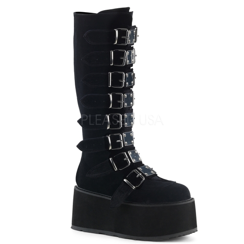 Black Velvet Knee High Boot With 8 Buckle Straps