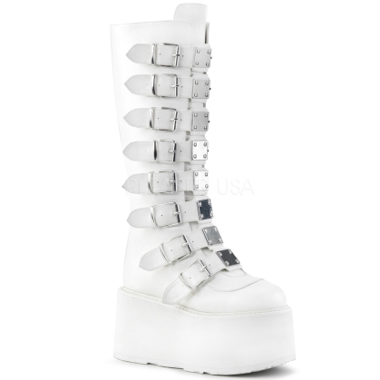 White Vegan Leather Knee High Boot 8 Buckle Straps