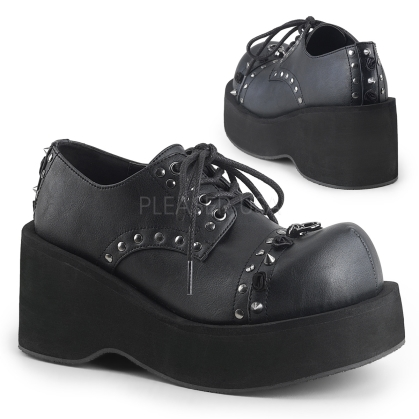 Black Vegan Leather Lace-Up Oxford Shoe