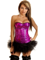 Hot Pink Sequin Underwire Side Zipper Corset
