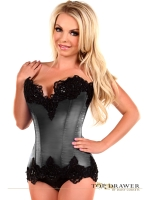 Smoke Grey Satin Steel Boned Beaded Corset