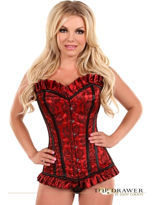 Red Steel-Boned Lace Front Busk Closure Corset
