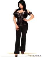 Molded Cup Black Santin And Sequin Corset