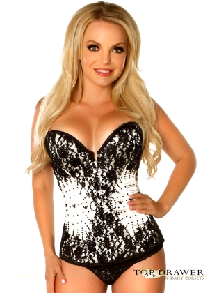 Front Busk Closure Beaded Steel Boned Corset
