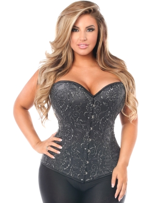 Elegant Embroidered Steel Boned Corset In Black