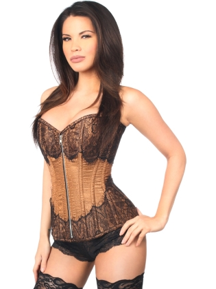 Mocha Brocade Front Zipper Steel Boned Corset