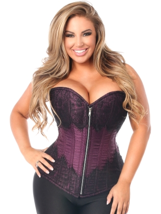 Plum Brocade Front Zipper Steel Boned Corset