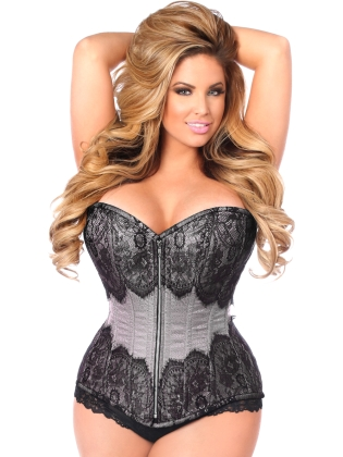 Gunmetal Brocade Steel Boned Front Zip Corset