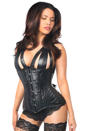 Strappy Black Faux Leather Steel Boned Underbust