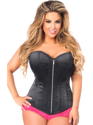 Premium Black Satin Zip Front Steel Boned Corset