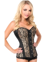 Gold Swirl Steel Boned Corset Front Busk Closure