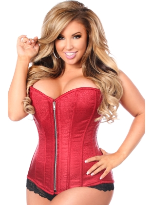 Red Brocade Fabric Zip Front Steel Boned Corset