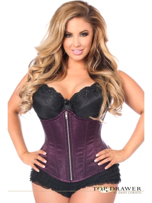 Purple Brocade Underbust Front Zipper Closure