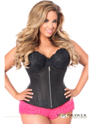 Black Brocade Underbust Front Zipper Closure