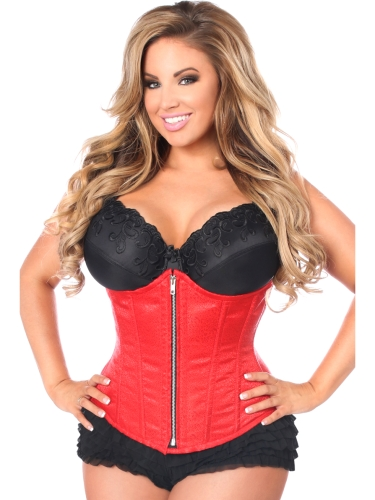 Red Brocade Underbust Front Zipper Closure