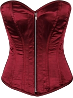 Burgundy Bordeaux Satin Steel Boned Corset