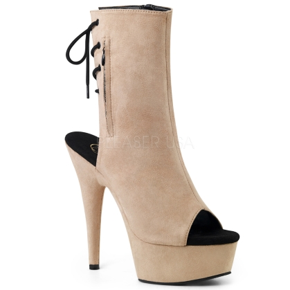 DELIGHT-1018FS 6 inch Beige Faux Suede Ankle Boot