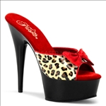 6 Inch Heel No Strap Leopard Print Faux Leather