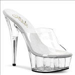 Strapless Clear Vamp Open Toe 6 Inch Heel Slides