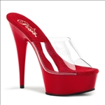 Red Clear Top 6 Inch Stiletto Heel Open Toe Style