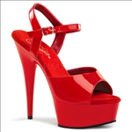 Red Patent 6inch Heel Open Toe Vamp Stripper Shoe