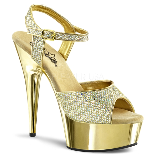 Glitter Gold Chrome 6 Inch Heel Entertainers Shoe