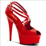 Double Crisscross Strappy Shoes Red Hot Patent